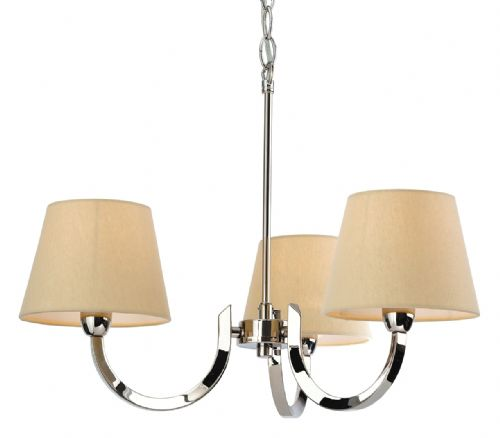 Firstlight 2321PST Polished S/Stl with Cream Linen Shade Fairmont 3 Light Fitting